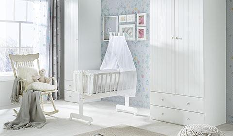 Babywiege-Babyzimmer-Wiegenset-weiß-moemax - 78150013-02-M001