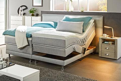 Schlafzimmer Betten Features Boxspringbett Grau Motorverstellbar Moemax