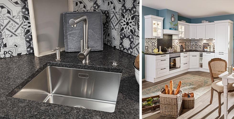 Spüle in der Ecke, platzsparend, Küche weiß, Landhausstil hellblau bei mömax.