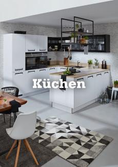 mömax Küchen im Onlineshop entdecken - so wie diese moderne Eckküche in weiß mit Metall und Holz