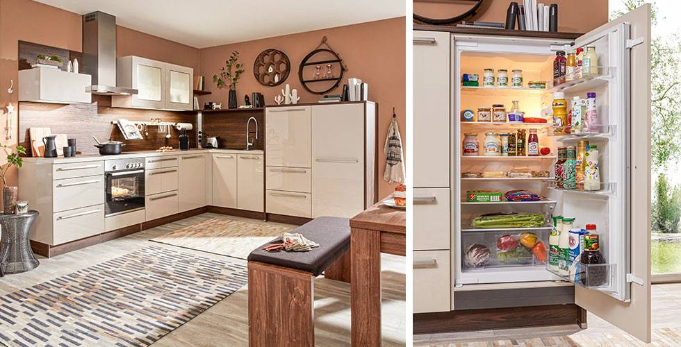 Küche in Creme und warmen Brauntönen, leicht rustikal, bei mömax