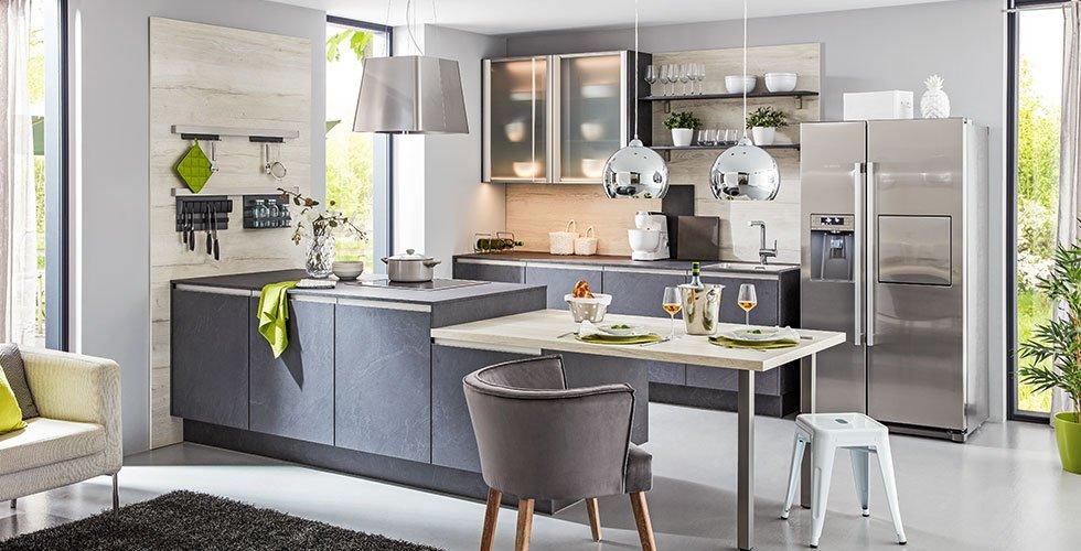 Küche, zweizeilig, Stone Art, Grau, modern, günstig kaufen bei mömax.
