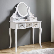 Schminktisch in weiß mit Spiegel und 5 kleinen Schubladen