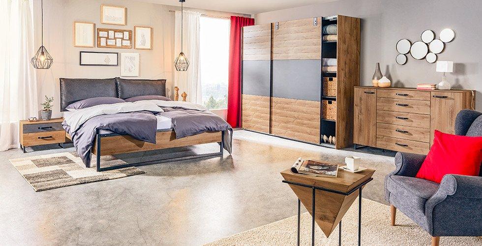 Schlafzimmer-Bett-Nachttisch-Kommode-Kleiderschrank-Braun-Eichefarben-Holzschlafzimmer
