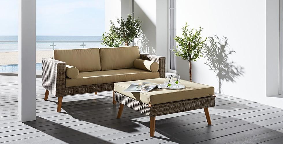 schickes loungesofa aus polyrattan in braun von mouml - Einfache Dekoration Und Mobel Gartenmoebel Fuer Die Neue Saison