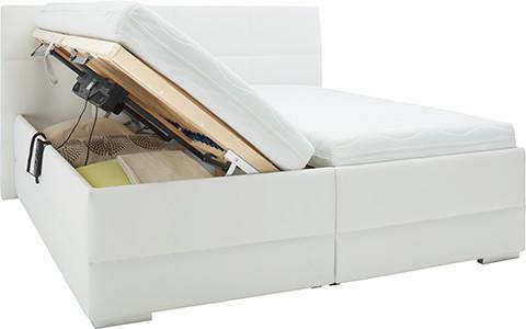 Polsterbett 180x200 cm, in Weiß, Leder-Look, mit Rückenteil und einzeln aufklappbaren Bettkästen von mömax.