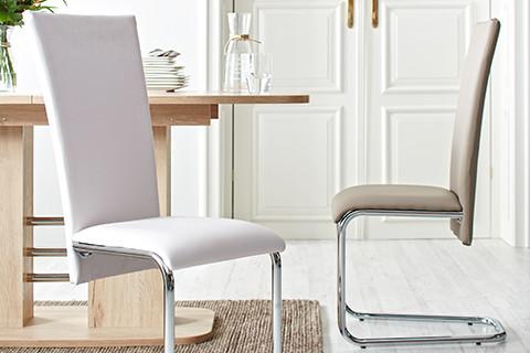 Schwingstuhl in cooler Lederoptik, in Grau und Weiß von mömax.