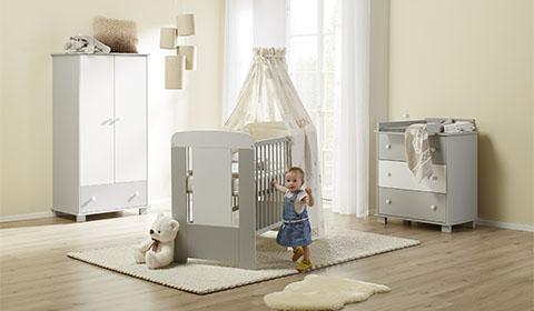 3 Teiliges Babyzimmer In Weiß Und Grau Günstig Online Bestellen Bei Mömax.