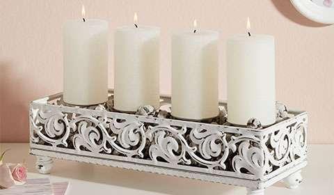 Kerzenhalter aus Holz in Weiß von mömax.
