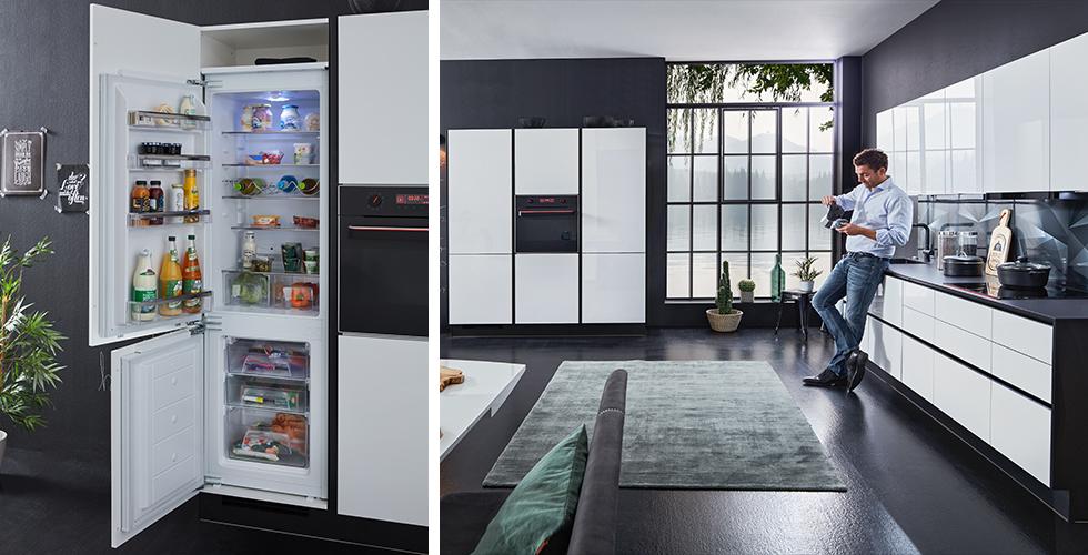 Edle Küche in Alpinweiß und Schwarz inklusive hochwertigen Kühlschrank von mömax.