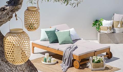 Sonnenliege-Gartenliege-Doppelliege-Echtholz-Eukalyptusholz