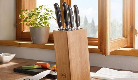 6-teiliges Messerset mit Messerblock aus Bambusholz von mömax.