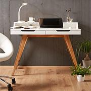 Schreibtisch mit 2 Schubladen in weiß mit braunen Füßen