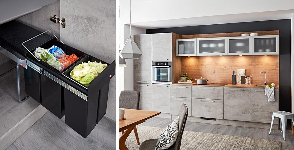 Mülltrennsystem im Küchenunterschrank integriert zum Ausziehen, von mömax.