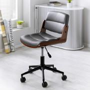 Bürostuhl mit Sitz in Walnussfarben und dunkelgrauen Bezug mit niedriger schwarzer Lehne