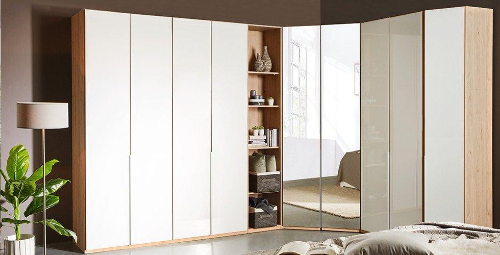 Eckkleiderschrank-Planungsschrank-Holz-Eiche-Weiss-Spiegelfront