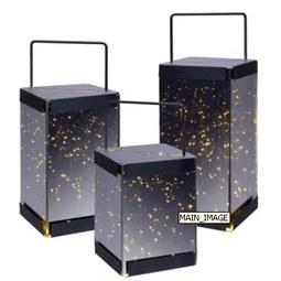 Laterne aus Eisen mit LED Licht und Spiegelfront