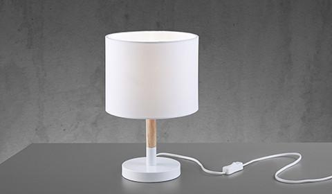 Weisse LED-Tischlampe mit Holz von mömax.