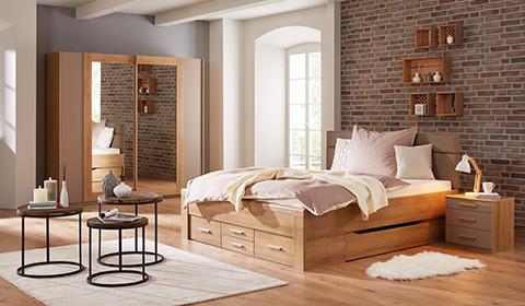 moderne betten mit springbox oder bettrahmen halbhohe betten m max. Black Bedroom Furniture Sets. Home Design Ideas