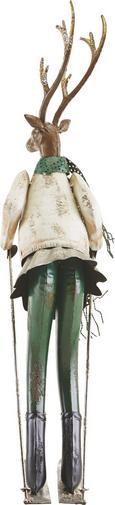 Dekohirsch Skihaserl H ca. 65,5 cm - Silberfarben/Weiß, MODERN, Metall (15,9/20,3/65,5cm) - Mömax modern living