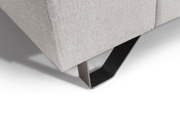 Wohnlandschaft mit Bettfunktion - Beige/Silberfarben, MODERN, Textil/Metall (280/196cm)