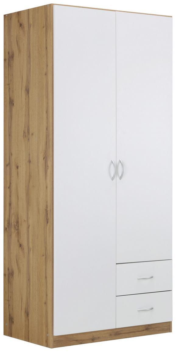 Kleiderschrank Weiß/Wotan Eiche - Alufarben, MODERN, Holzwerkstoff/Kunststoff (91/197/54cm) - Modern Living