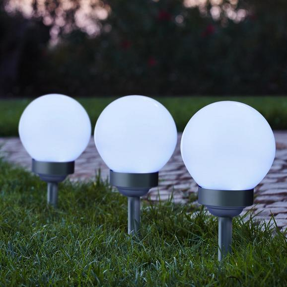 Gartenleuchte Led-solar Luke ca. Ø 15 cm - Silberfarben, MODERN, Kunststoff (15cm)