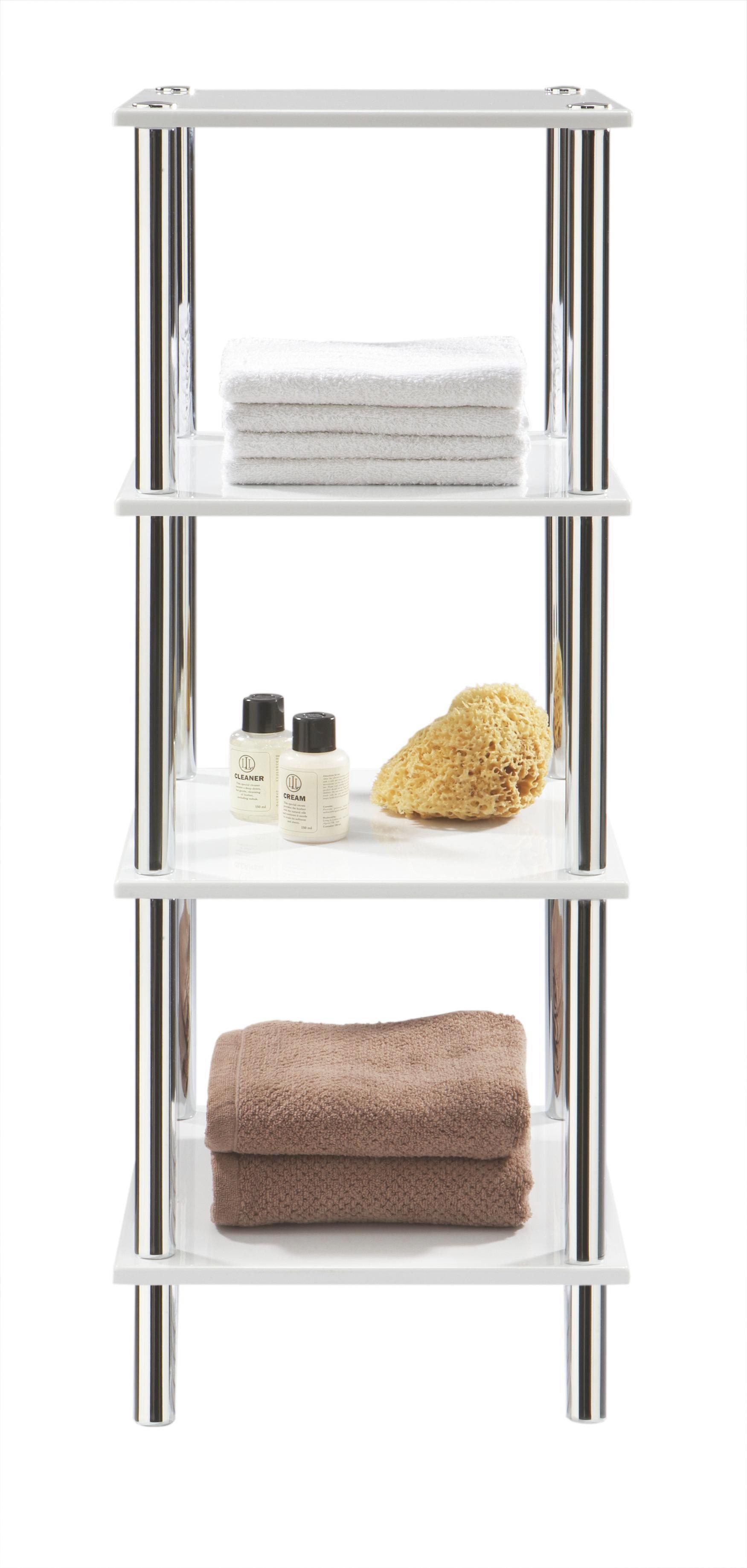 Regal in Weiß/Stahl, 4 ablagen - Weiß, LIFESTYLE, Textil/Metall (39/107/39cm) - MÖMAX modern living