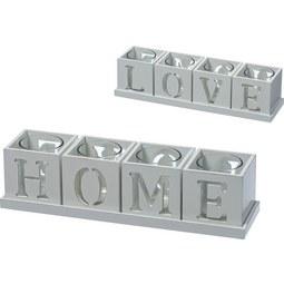 Teamécsestartó Home & Love - Fehér, Faalapú anyag/Üveg (30/7,5/7,5cm) - Modern Living