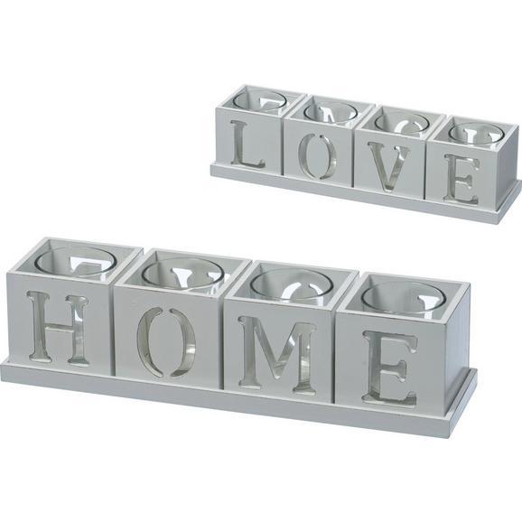 Teelichthalter Home&Love Weiß - Weiß, Glas/Holzwerkstoff (30/7,5/7,5cm) - Modern Living