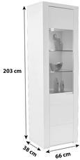 Vitrina Bree - bijela/siva, Modern, staklo/drvni materijal (65,8/202,8/37,7cm)