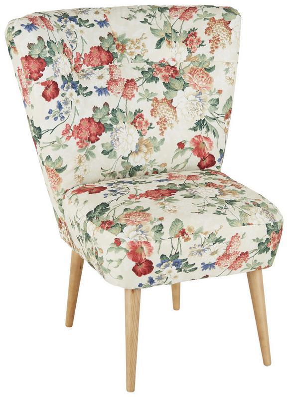 Fotelja Estella - boje hrasta/višebojno, Lifestyle, drvo/tekstil (67/85/44/68cm) - Modern Living