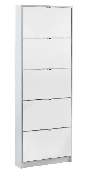 Schuhschrank in Weiß - Weiß, Glas/Holzwerkstoff (60/168/16cm) - MÖMAX modern living