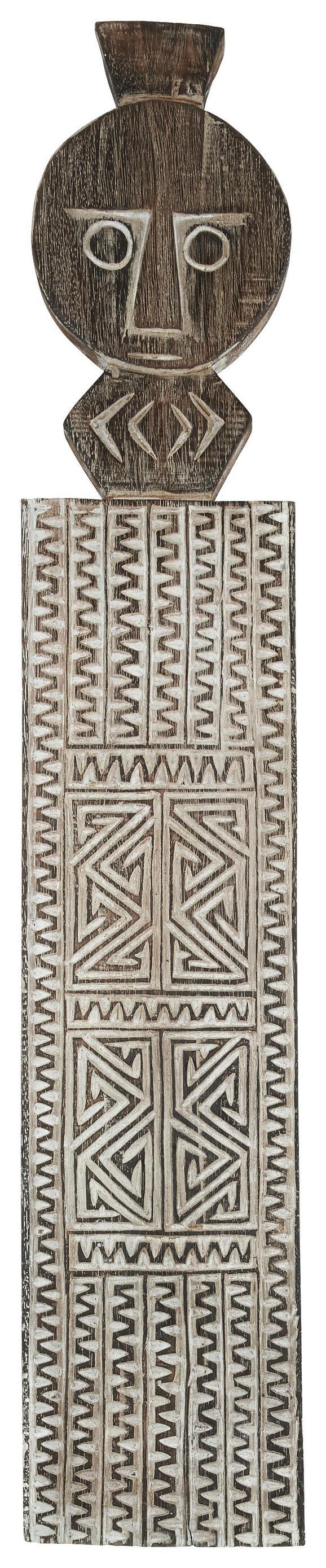 Wanddeko Luh Natur/Weiß - Naturfarben/Weiß, Holz (18/92/3cm) - Zandiara