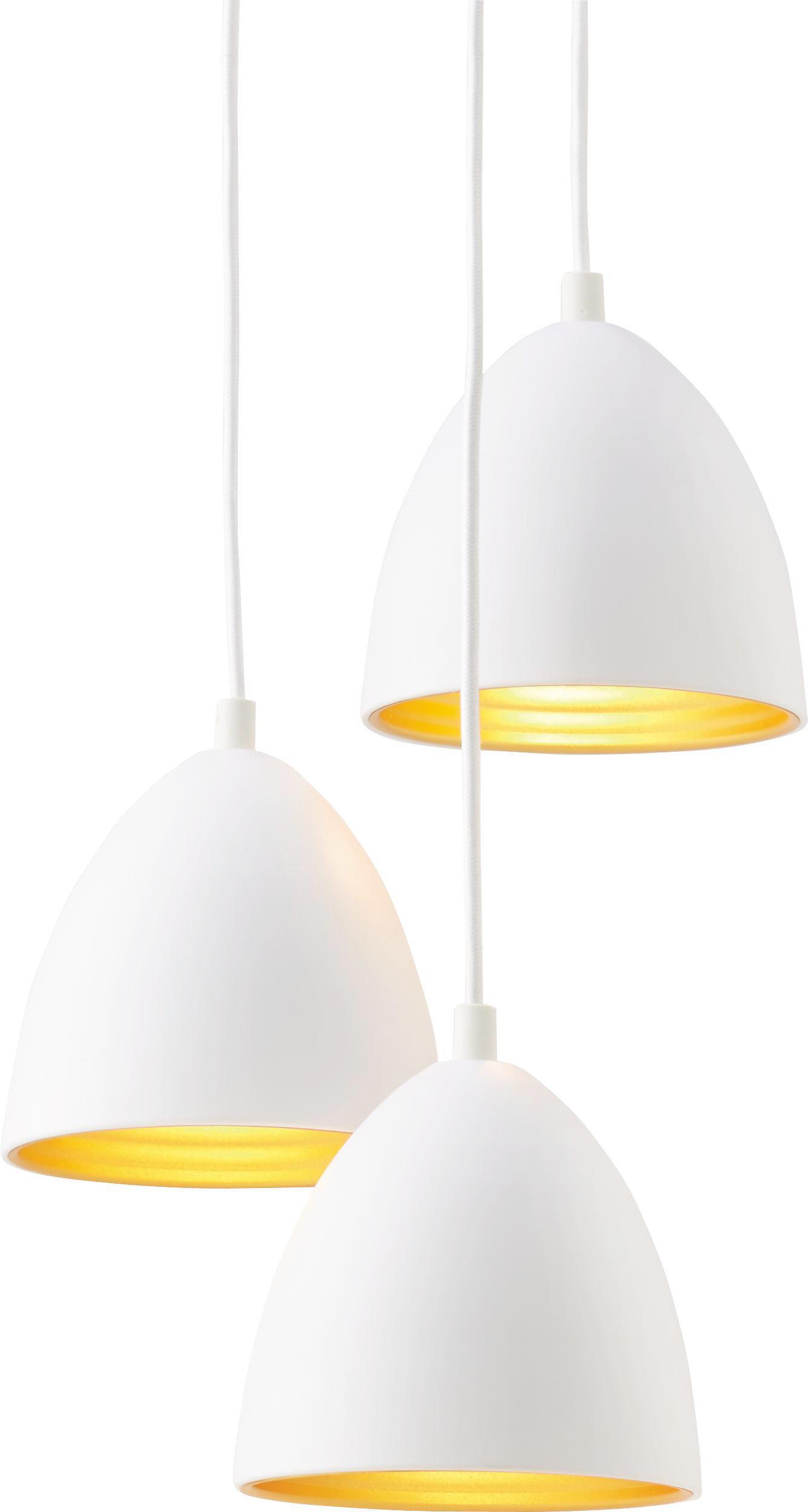 Hängeleuchte Aida - Goldfarben/Weiß, Metall (34/100cm) - PREMIUM LIVING