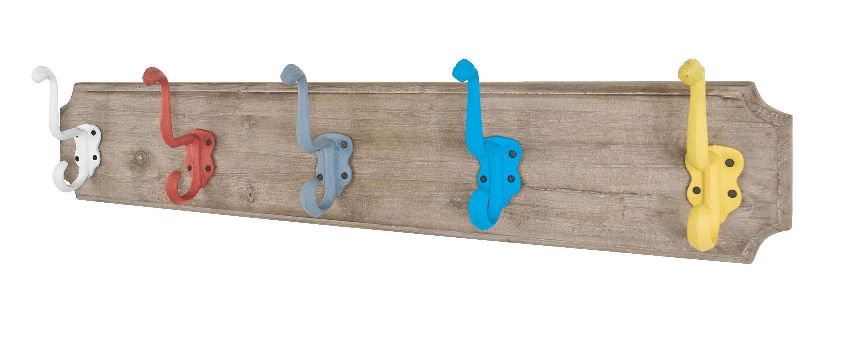 Hakenleiste in Blau/gelb/grau/rot - Blau/Gelb, Holz/Metall (61/8/13cm) - MÖMAX modern living