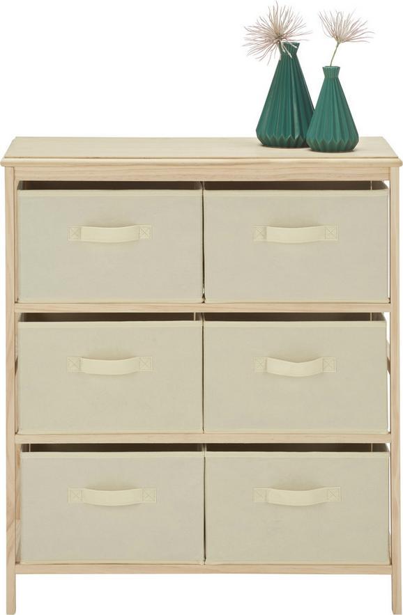 Kommode Weiß/Natur - Naturfarben/Weiß, MODERN, Holz/Textil (70/80/30cm) - MÖMAX modern living