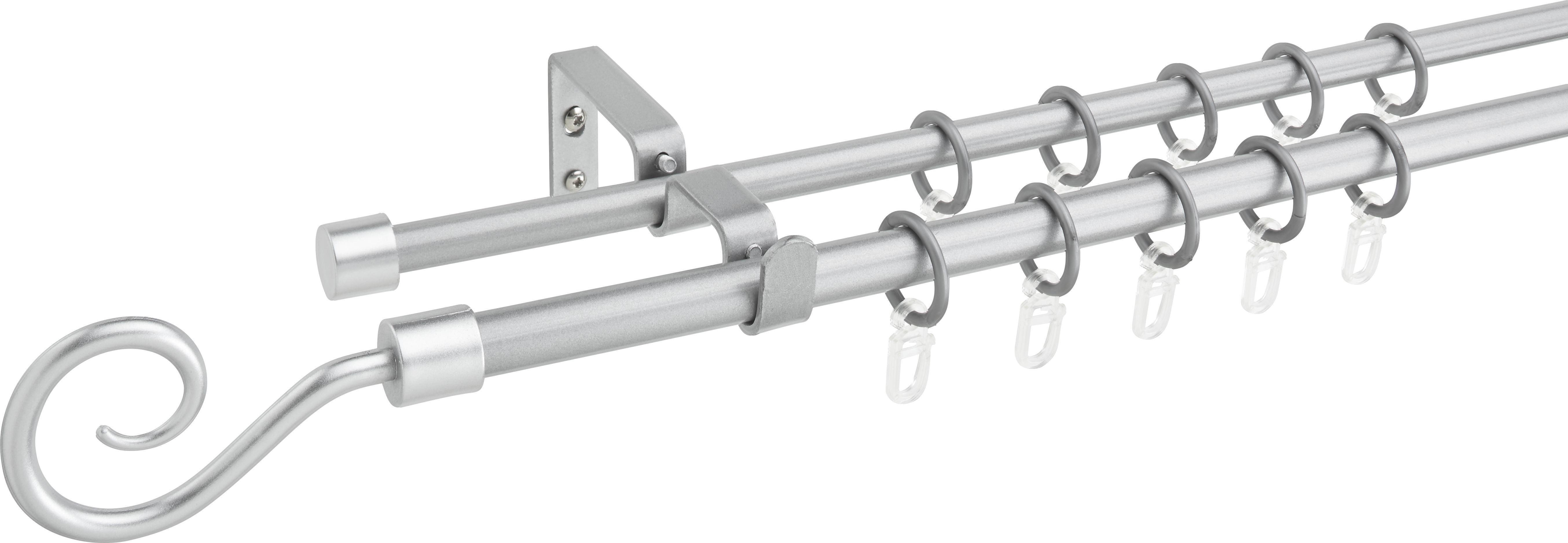 Vorhangstangenset Hook Doppellauf, ca. 120-210cm - Silberfarben, Metall (120/210cm) - MÖMAX modern living