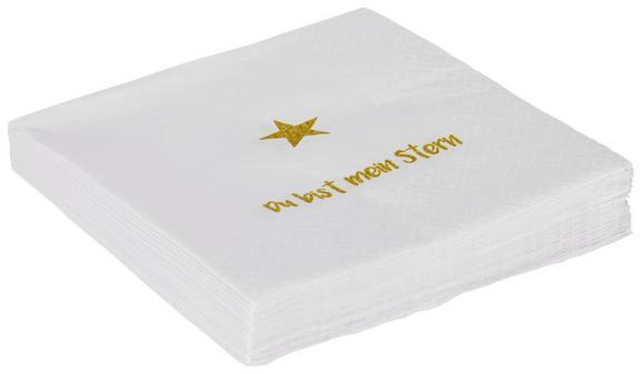 Serviette Lia Weiß/Goldfarben - Goldfarben/Weiß, Papier (33/33cm)