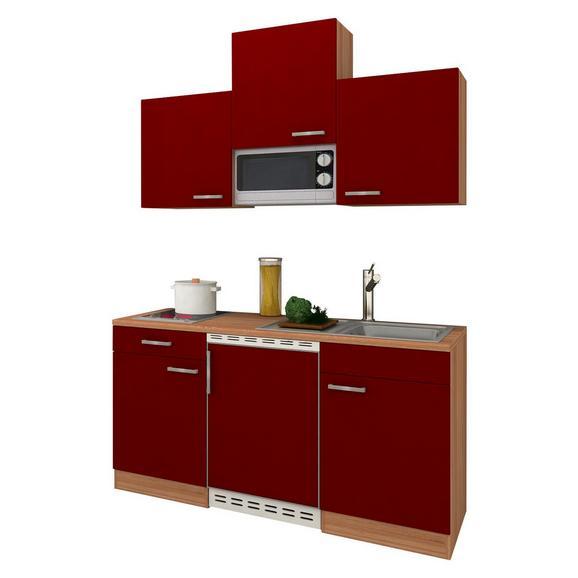 Küchenblock ECONOMY 150 - Eichefarben/Rot, KONVENTIONELL, Holzwerkstoff (150/200/60cm) - Livetastic