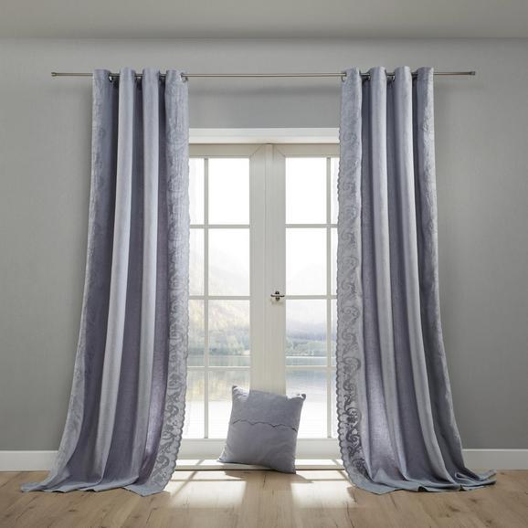Leinenvorhang in Grau ca. 140x245 cm 'Nele' - Grau, ROMANTIK / LANDHAUS, Textil (140/245cm) - Bessagi Home