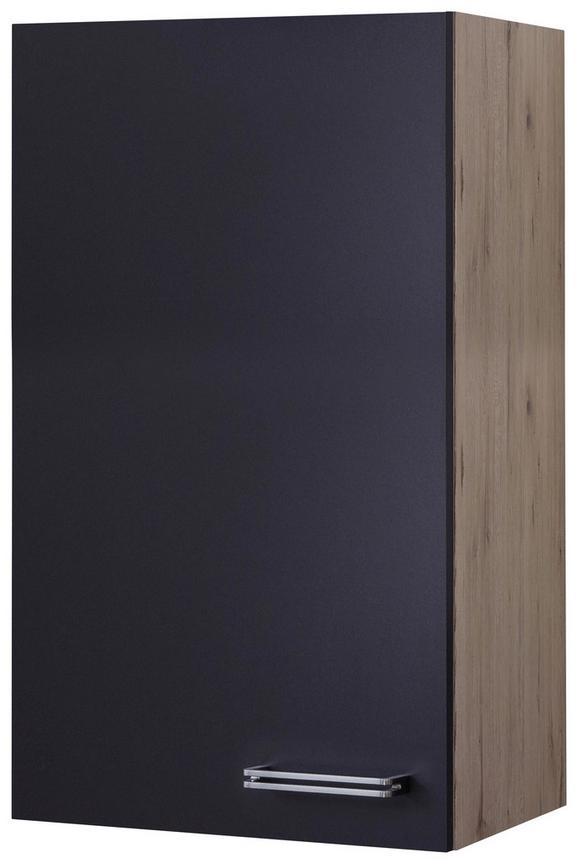 Küchenoberschrank Anthrazit/Eiche - Edelstahlfarben/Eichefarben, MODERN, Holzwerkstoff/Metall (50/89/32cm)