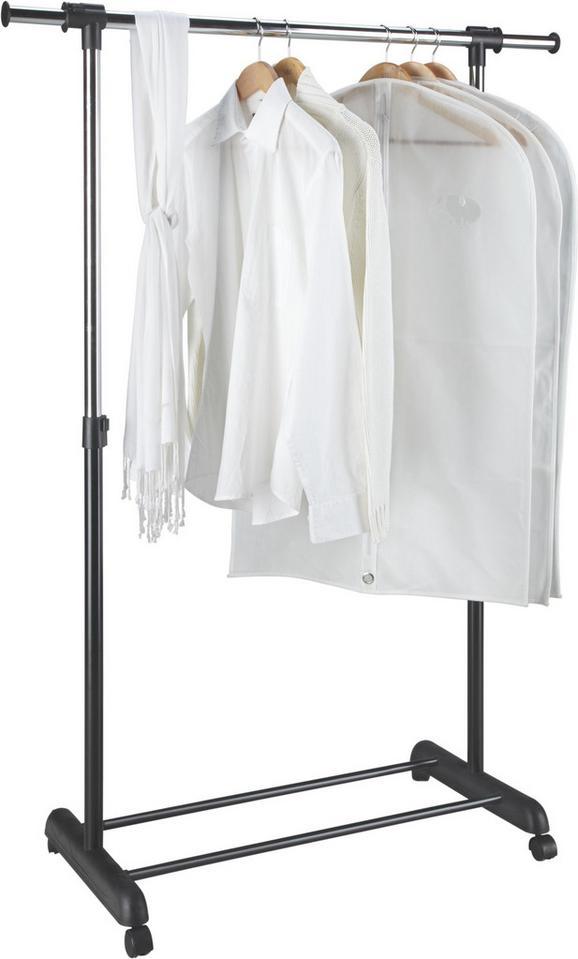 Kleiderwagen Schwarz/Silberfarben - Silberfarben/Schwarz, Kunststoff/Metall (85-148,5/95-170/44cm) - Mömax modern living