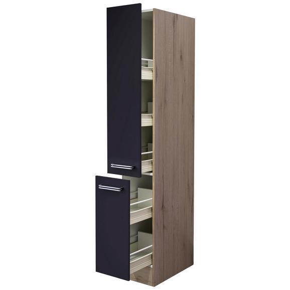 Apothekerschrank Anthrazit/Eiche - Edelstahlfarben/Eichefarben, MODERN, Holzwerkstoff/Metall (30/200/57cm) - FlexWell.ai
