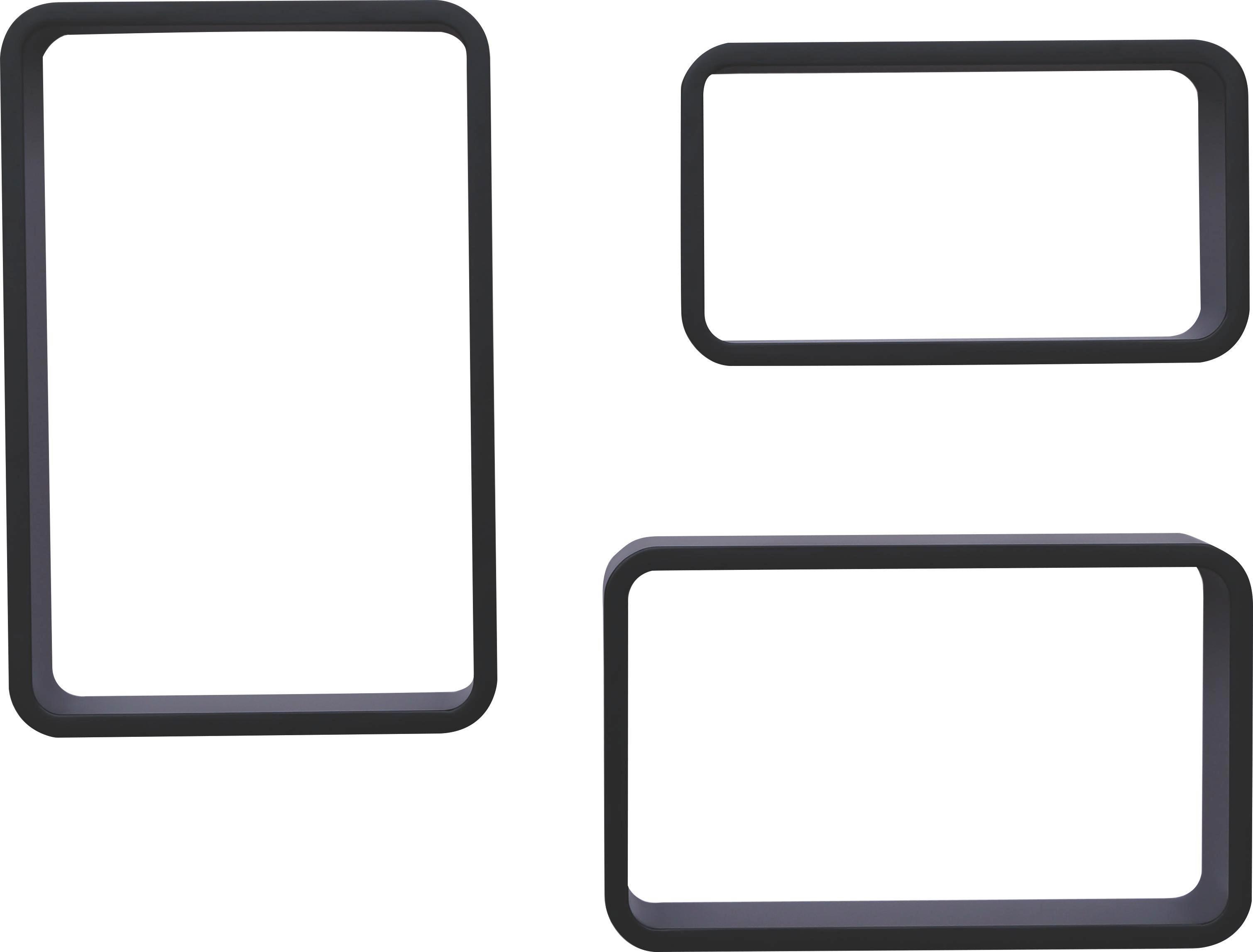 Falipolc Sven - fekete, modern, faanyagok (45/40/35/30/25/20/11cm)