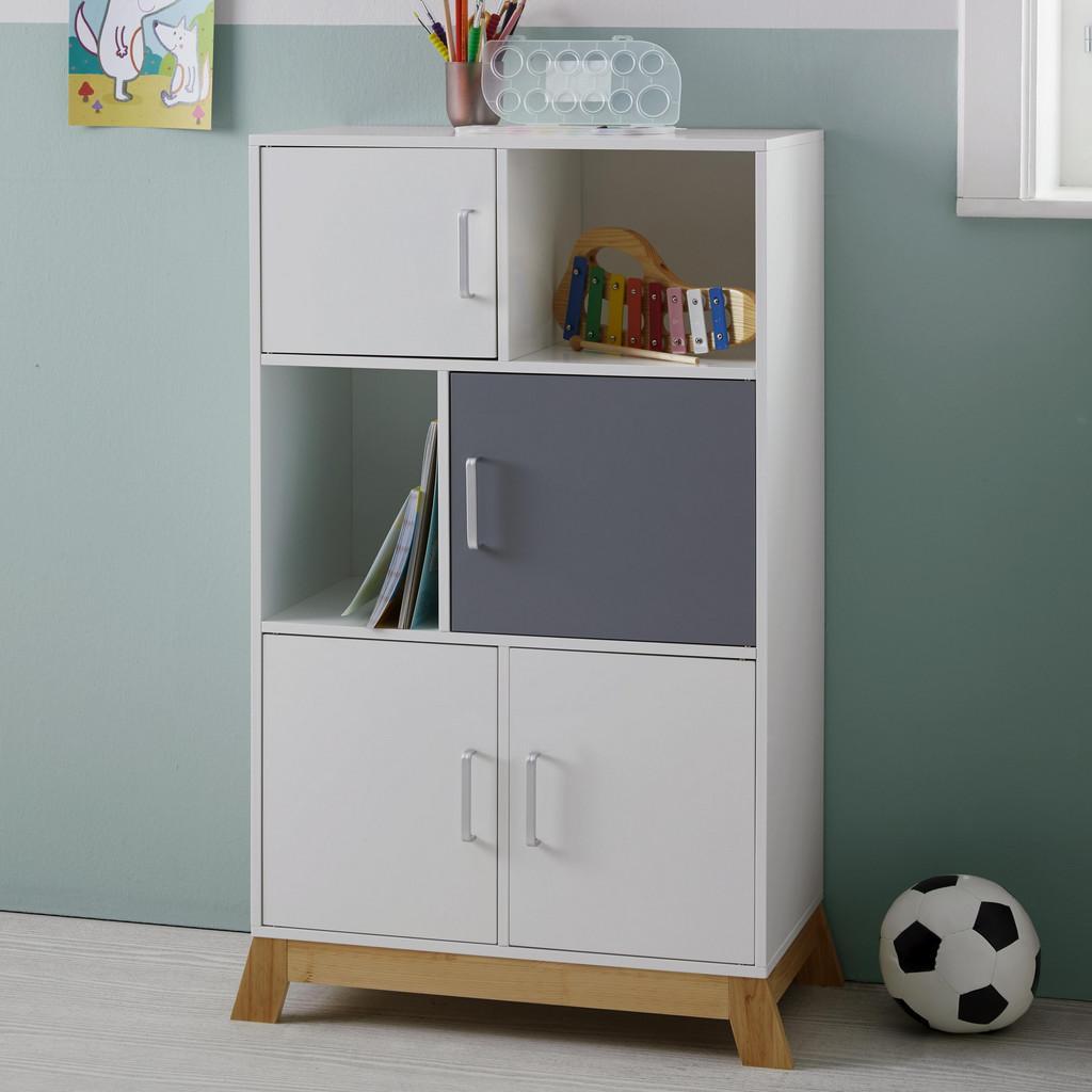 Kinderkommode in Weiß/ Kieferfarben/Hellgrau 'Brian' | Kinderzimmer > Kinderzimmerschränke | Bessagi Kids
