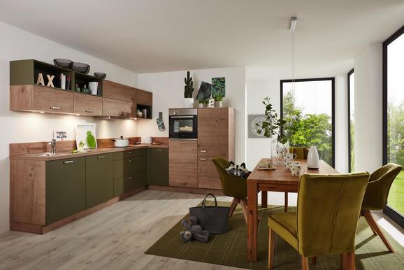 Eckküche Manhattan Uni/timber Olive - Eichefarben/Olivgrün (215/285cm)