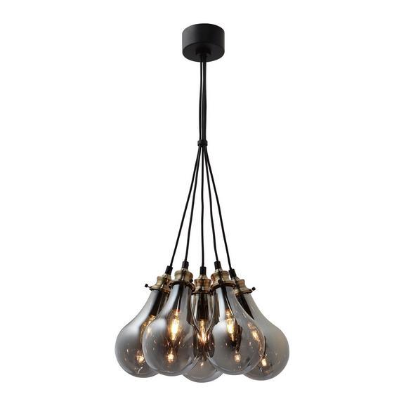 Pendelleuchte Luciana 5-flammig - Messingfarben/Grau, MODERN, Glas (38/132.5/15cm) - Modern Living