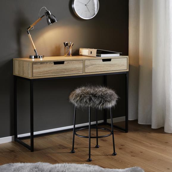 Hocker in Grau 'Luzie' - Schwarz/Grau, MODERN, Fell/Metall (30/50cm) - Bessagi Home