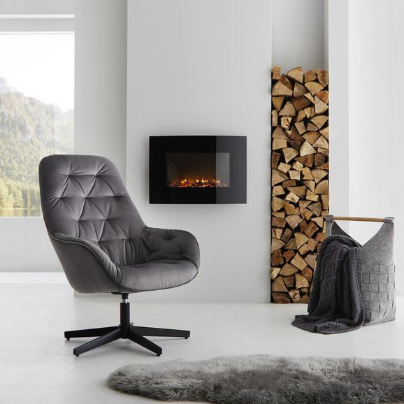 Drehstuhl in Grau 'Marko' - Schwarz/Grau, MODERN, Textil/Metall (70,5/99/78cm) - Bessagi Home